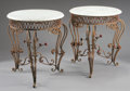 Furniture : Continental, A PAIR OF WROUGHT IRON TABLES WITH MARBLE TOPS. 30-1/4 x 28 x 28inches (76.8 x 71.1 x 71.1 cm) each. ... (Total: 2 Items)