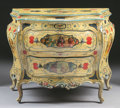 Furniture : Continental, AN ITALIAN PAINTED WOOD BOMBÉ COMMODE. 19th Century. 36 x 46 x 23-1/2 inches (91.4 x 116.8 x 59.7 cm). ...