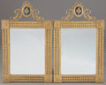Furniture : French, A PAIR OF FRENCH LOUIS XVI STYLE GILT AND ENAMELED BRONZE MIRRORS. 34-1/2 x 21 inches (87.6 x 53.3 cm) each. ... (Total: 2 Items)
