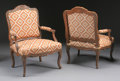 Furniture : French, A PAIR OF FRENCH PROVINCIAL WALNUT ARMCHAIRS. 18th Century. 37-1/2x 28 x 24-1/2 inches (95.3 x 71.1 x 62.2 cm) each. ... (Total: 2Items)