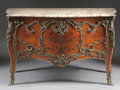 Furniture : French, A FRENCH NAPOLEON III BRONZE MOUNTED MARQUETRY COMMODE WITH MARBLETOP. Last Quarter 19th Century. 35-1/4 x 57 x 26-1/4 inch...