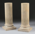Furniture : French, A PAIR OF FRENCH LOUIS XVI STYLE GILT BRONZE MOUNTED MARBLEPEDESTALS. 39-5/8 inches (100.6 cm) high, each. ... (Total: 2Items)
