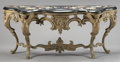 Furniture : French, A FRENCH LOUIS XVI STYLE BRONZE CONSOLE WITH PIETRA DURA TOP. 37 x 87 x 21-1/2 inches (94.0 x 221.0 x 54.6 cm). ...