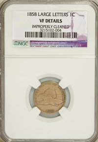 1858 1C Large Letters--Improperly Cleaned--VF20 NGC. VF20 Details. NGC Census: (0/177). PCGS Population (17/1644). Minta...