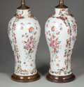 Asian:China Trade, A PAIR OF CHINESE EXPORT MANDARIN PALETTE PORCELAIN VASES. Circa1785. 10-1/2 inches (26.7 cm) high, each. ... (Total: 4 Items)