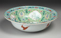 Asian:China Trade, A CHINESE EXPORT PORCELAIN BASIN. 19th Century. 15 inches (38.1 cm)diameter. ...