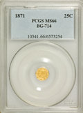 California Fractional Gold: , 1871 25C Liberty Octagonal 25 Cents, BG-714, R.3, MS66 PCGS. PCGSPopulation (23/1). NGC Census: (3/1). (#10541)...
