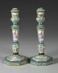 Asian:China Trade, A PAIR OF CHINESE EXPORT ENAMELED METAL CANDLESTICKS. 19th Century.10-3/4 inches (27.3 cm) high, each. ... (Total: 2 Items)