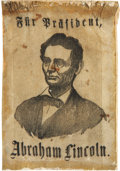 Political:Ribbons & Badges, Abraham Lincoln: Rare German-Language Campaign Ribbon. ...
