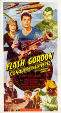 "Entertainment Collectibles:Movie, ""Flash Gordon Conquers the Universe"" Serial Film Three Sheet Poster, 1940...."