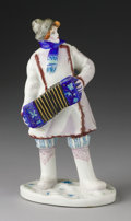 Ceramics & Porcelain, Russian, A RUSSIAN PORCELAIN ACCORDION PLAYER. Lomonosov Porcelain Factory,20th Century. Marks: (Impressed factory mark), Made in ...