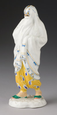 A RUSSIAN PORCELAIN MIDDLE EASTERN WOMAN Lomonosov Porcelain Factory, 20th Century Marks: (Printed factory mark