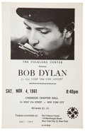 Music Memorabilia:Posters, Bob Dylan Carnegie Chapter Hall Concert Handbill (Folklore Center,1961).. ...