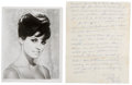 Movie/TV Memorabilia:Autographs and Signed Items, Raquel Welch Handwritten Letter with Signed Photo.... (Total: 2 )