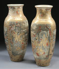 Asian:Japanese, A LARGE PAIR OF JAPANESE SATSUMA PORCELAIN VASES. 19th Century.35-1/8 inches (89.2 cm) high, each. ... (Total: 2 Items)