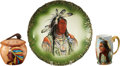 Antiques:Decorative Americana, [American Indian] Three Indian Theme Painted China Items....(Total: 3 Items)