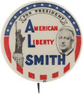 "Political:Pinback Buttons (1896-present), Al Smith: Iconic ""American Liberty Smith"" 1¼"" Pinback. ..."