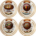 Explorers:Space Exploration, Set of Four Hand-Painted Plates by J. Siguier Commemorating EarlyFrench Balloon Flights.... (Total: 4 Items)
