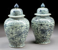 Asian:Chinese, A PAIR OF CHINESE PORCELAIN COVERED JARS. 28 inches (71.1 cm) high,each. ... (Total: 2 Items)