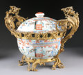 Asian:China Trade, A CHINESE EXPORT GILT BRONZE MOUNTED PORCELAIN COVERED TUREEN. 19thCentury. 17 inches (43.2 cm) long. ... (Total: 2 Items)