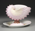 Ceramics & Porcelain, British:Antique  (Pre 1900), AN ENGLISH PEARLWARE COMPOTE AND STAND. Wedgwood, Circa 1870. Marks: impressed WEDGWOOD, W. 9-1/2 x 12-1/4 x 8 inches (2... (Total: 2 Items)