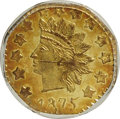 California Fractional Gold: , 1875 50C Indian Octagonal 50 Cents, BG-946, R.4, MS63 PCGS. PCGSPopulation (20/18). NGC Census: (4/3). (#10804)...