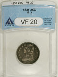 Bust Quarters: , 1836 25C VF20 ANACS. B-2. NGC Census: (1/95). PCGS Population (2/89). Mintage: 472,000. Numismedia Wsl. Price for NGC/PCGS ...