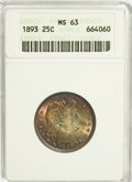 Barber Quarters: , 1893 25C MS63 ANACS. NGC Census: (53/96). PCGS Population (68/87). Mintage: 5,444,815. Numismedia Wsl. Price for NGC/PCGS c...