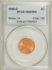 1945-S 1C MS67 Red PCGS. PCGS Population (675/0). NGC Census: (0/0). Mintage: 181,770,000. Numismedia Wsl. Price for NGC...