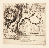 ALFRED HEBER HUTTY (American, 1877-1954) Magnolia Gardens Drypoint on paper Plate: 6-1/2 x 6 inch