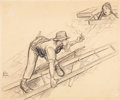 Fine Art - Work on Paper:Drawing, JOHN SLOAN (American, 1871-1951). The Day on the Roof.Charcoal and pencil on paper mounted on board. 12-1/2 x 15inches...