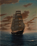 Fine Art - Painting, American:Modern  (1900 1949)  , ANTON OTTO FISCHER (American, 1882-1962). Clipper Ship atDawn. Oil on canvas. 25 x 21 inches (63.5 x 53.3 cm). Signedl...