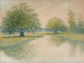 Fine Art - Work on Paper:Watercolor, ALEXANDER JOHN DRYSDALE (American, 1870-1934). Louisiana BayouLandscape. Watercolor on paper. 15 x 19-3/4 inches (38.1 ...