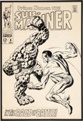 Original Comic Art:Covers, John Buscema and Dan Adkins Sub-Mariner #8 Sub-Mariner vs.the Thing Cover Original Art (Marvel, 1968).... (Total: 2 Items)