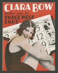 """Three Week Ends (Paramount, 1928). Herald (Folded Out, 6"""" X 9""""). Comedy"""