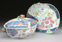 A CHINESE EXPORT TOBACCO LEAF PORCELAIN COVERED TUREEN AND UNDERPLATE 18th Century 13-1/2 inches (34.3 cm) long