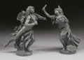 Ceramics & Porcelain, British:Antique  (Pre 1900), A PAIR OF ENGLISH BASALT FIGURES OF A FAUN AND A BACCHANTE. Wedgwood, 19th Century. Marks: each impressed S WEDGWOOD . 1... (Total: 2 Items)