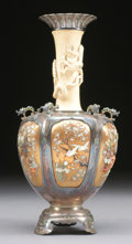 Asian:Japanese, A LARGE JAPANESE SHIBAYAMA SILVER, STONE INLAID, AND IVORY VASE.Meiji Period, 1868-1912. Marked on base in Japanese. 12 inc...