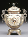 Asian:Japanese, A JAPANESE SHIBAYAMA SILVER, STONE INLAID, AND IVORY URN. MeijiPeriod, 1868-1912. Marked on base in Japanese. 7 inches (17....(Total: 2 Items)