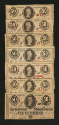 Confederate Notes:1863 Issues, T63 50 Cents 1863. Six Examples.. T72 50 Cents 1864.. ... (Total: 7notes)