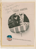 Movie/TV Memorabilia:Autographs and Signed Items, Frank Sinatra Signed Manchurian Candidate Advertisement....
