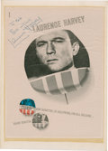 Movie/TV Memorabilia:Autographs and Signed Items, Manchurian Candidate Advertisement Signed by LaurenceHarvey....