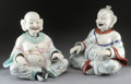 Ceramics & Porcelain, Continental:Modern  (1900 1949)  , A PAIR OF GERMAN PORCELAIN ARTICULATED NODDING HEAD PAGODA FIGURES. 18-3/4 inches (47.6 cm) high, each. ... (Total: 2 Items)