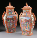 Asian:Chinese, A PAIR OF CHINESE EXPORT MANDARIN PALETTE PORCELAIN COVERED VASES.Late 18th-Early 19th Century. 14 inches (35.6 cm) high, e...(Total: 2 Items)
