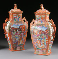 A PAIR OF CHINESE EXPORT MANDARIN PALETTE PORCELAIN COVERED VASES Late 18th-Early 19th Century 14 inches (35.6