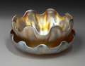 Art Glass:Tiffany , AN AMERICAN FAVRILE GLASS FINGER BOWL AND UNDERPLATE. TiffanyStudios, Circa 1910. Bowl etched: L.C.T. 8918 . Underplat...(Total: 2 Items)