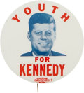 """Political:Pinback Buttons (1896-present), John F. Kennedy: Rare and Popular """"Youth"""" Item From 1960...."""
