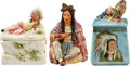 Antiques:Decorative Americana, [American Indian] Three Indian Theme Majolica Tobacco Jars....(Total: 3 Items)