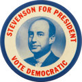 Political:Pinback Buttons (1896-present), Adlai Stevenson: One of the Rarest and Most Visually Arresting ofStevenson Portrait Pinbacks. ...