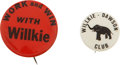 Political:Pinback Buttons (1896-present), Wendell Willkie: Two Very Rare Pinback Varieties.... (Total: 2 Items)